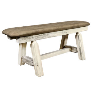 Homestead Natural Plank Style Bench with Buckskin Upholstery