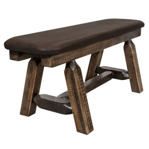 Homestead Stain and Lacquer Plank Style Bench with Saddle Upholstery