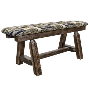 Homestead Stain and Lacquer Plank Style Bench with Woodland Upholstery