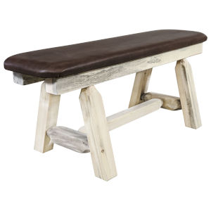 Homestead Clear Lacquer Plank Style Bench with Saddle Upholstery