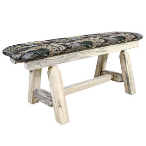 Homestead Clear Lacquer Plank Style Bench with Woodland Upholstery