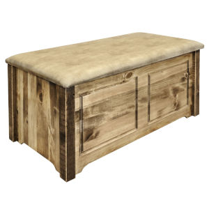 Homestead Stain and Lacquer Blanket Chest with Buckskin Upholstery