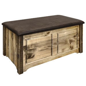 Homestead Stain and Lacquer Blanket Chest with Saddle Upholstery