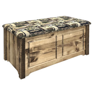 Homestead Stain and Lacquer Blanket Chest with Woodland Upholstery