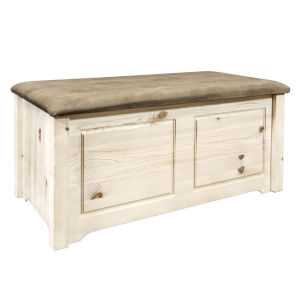 Homestead Clear Lacquer Blanket Chest with Buckskin Upholstery