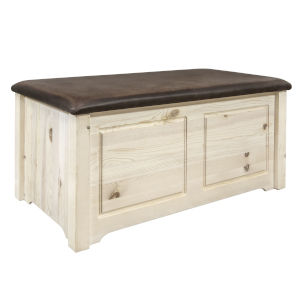 Homestead Clear Lacquer Blanket Chest with Saddle Upholstery