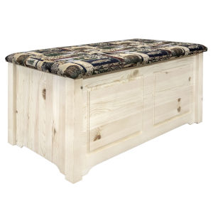 Homestead Clear Lacquer Blanket Chest with Woodland Upholstery