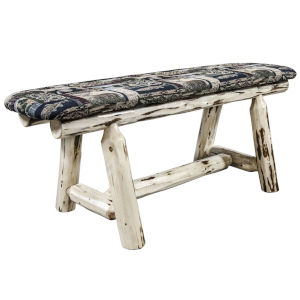 Montana Clear Lacquer Plank Style Bench with Woodland Upholstery