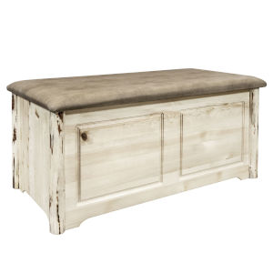 Montana Clear Lacquer Blanket Chest with Buckskin Upholstery