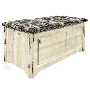 Montana Clear Lacquer Blanket Chest with Woodland Upholstery