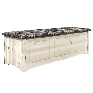Montana Clear Lacquer Large Blanket Chest with Woodland Upholstery