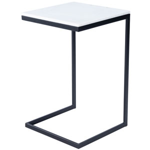 Lawler Black Metal and Marble End Table