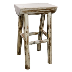 Montana Unfinished Half Log Barstool