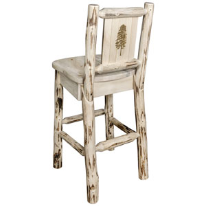 Montana Counter Height Barstool with Back, with Laser Engraved Pine Tree Design, Clear Lacquer Finish
