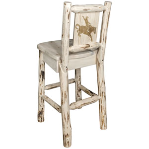 Montana Barstool with Back, with Laser Engraved Bronc Design, Clear Lacquer Finish