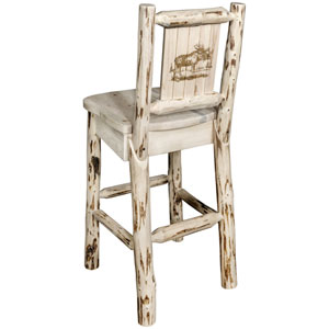 Montana Barstool with Back with Laser Engraved Moose Design, Clear Lacquer Finish