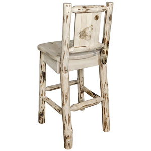 Montana Barstool with Back, with Laser Engraved Wolf Design, Clear Lacquer Finish