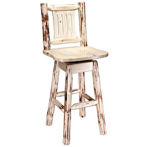 Montana Unfinished Barstool w/ Back and Swivel