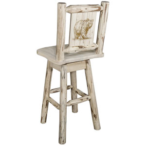 Montana Counter Height Barstool with Back and Swivel with Laser Engraved Bear Design, Clear Lacquer Finish