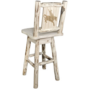 Montana Counter Height Barstool with Back and Swivel with Laser Engraved Bronc Design, Clear Lacquer Finish
