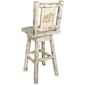 Montana Counter Height Barstool with Back and Swivel with Laser Engraved Moose Design, Clear Lacquer Finish