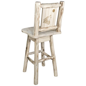 Montana Barstool with Back and Swivel with Laser Engraved Wolf Design, Clear Lacquer Finish