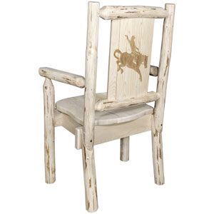 Montana Captains Chair with Laser Engraved Bronc Design, Clear Lacquer Finish