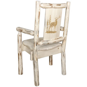 Montana Captains Chair with Laser Engraved Elk Design, Clear Lacquer Finish