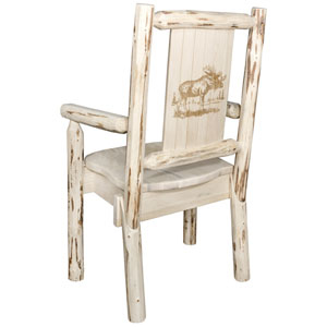 Montana Captains Chair with Laser Engraved Moose Design, Clear Lacquer Finish