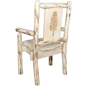 Montana Captains Chair with Laser Engraved Pine Tree Design, Clear Lacquer Finish