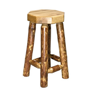 Glacier Country Stained and Lacquered Barstool no Back