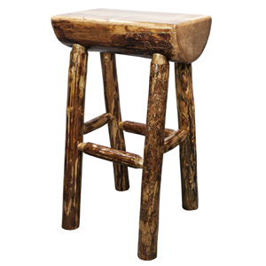 Glacier Country Stained and Lacquered Half Log Barstool