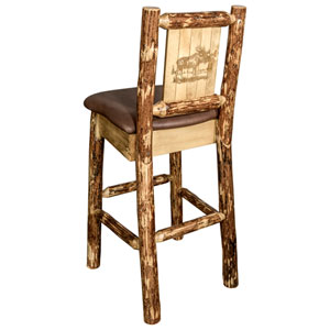 Glacier Country Counter Height Barstool with Back - Saddle Upholstery, with Laser Engraved Moose Design