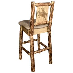 Glacier Country Barstool with Back - Buckskin Upholstery, with Laser Engraved Bronc Design