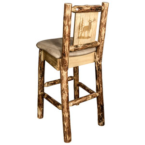 Glacier Country Barstool with Back - Buckskin Upholstery, with Laser Engraved Elk Design