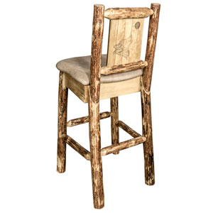 Glacier Country Barstool with Back - Buckskin Upholstery, with Laser Engraved Wolf Design