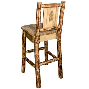 Glacier Country Barstool with Back, with Laser Engraved Pine Tree Design
