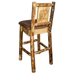 Glacier Country Barstool with Back - Saddle Upholstery, with Laser Engraved Bear Design