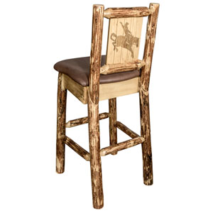 Glacier Country Barstool with Back - Saddle Upholstery, with Laser Engraved Bronc Design