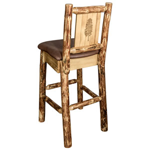 Glacier Country Barstool with Back - Saddle Upholstery, with Laser Engraved Pine Tree Design
