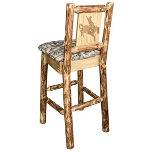 Glacier Country Barstool with Back - Wildlife Upholstery, with Laser Engraved Bronc Design