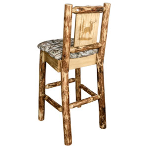 Glacier Country Barstool with Back - Wildlife Upholstery, with Laser Engraved Elk Design