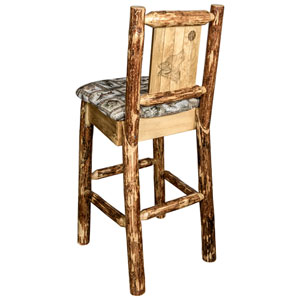 Glacier Country Barstool with Back - Wildlife Upholstery, with Laser Engraved Wolf Design