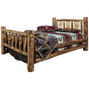 Glacier Country California King Bed with Laser Engraved Bear Design