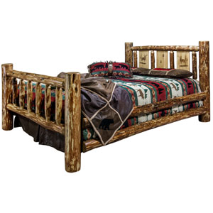 Glacier Country California King Bed with Laser Engraved Elk Design