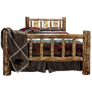 Glacier Country California King Bed with Laser Engraved Moose Design