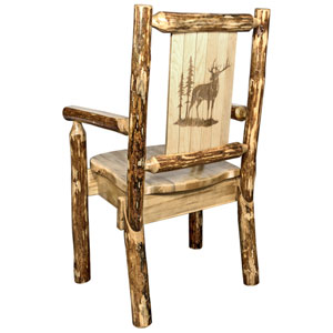 Glacier Country Captains Chair with Laser Engraved Elk Design