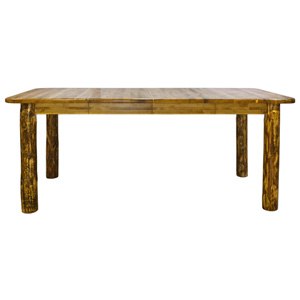 Glacier Country Stained and Lacquered Four Post Dining Table with Removable Leaves