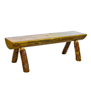 Glacier Country Stained and Lacquered Half Log Bench Six Ft.