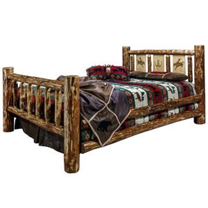Glacier Country King Bed with Laser Engraved Bronc Design